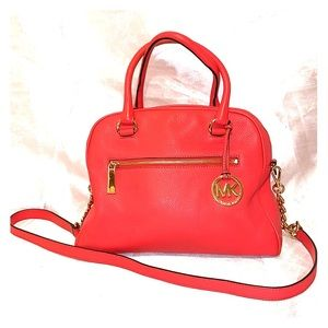 Michael Kors Orange Pebbled Leather Satchel Bag